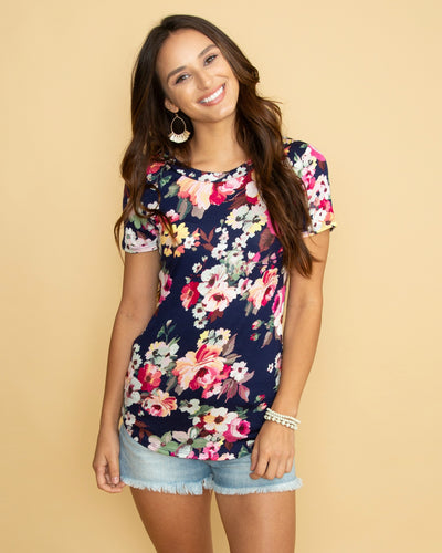 Fresh Blooms Floral Top - Navy