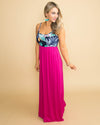 Friday Feels Floral Color-Block Maxi - Fuchsia/Navy