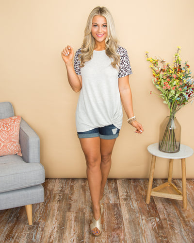 From Beginning To End Leopard Stripe Knot Top - Lt Grey