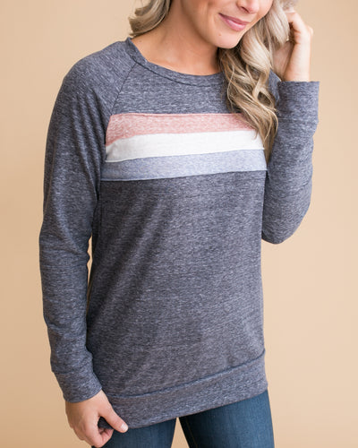 From My Heart Color-Block Pullover - Heather Blue
