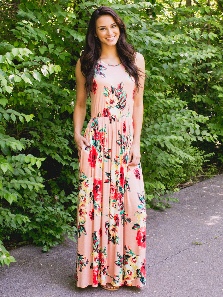 East Ivy Floral Maxi Dress - Peach