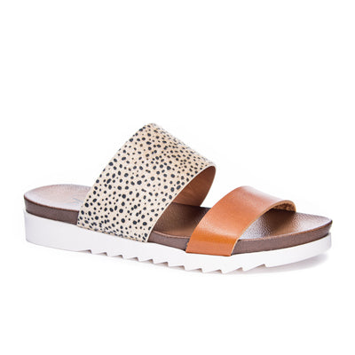 Dirty Laundry Everly Cheetah Slides - Cognac