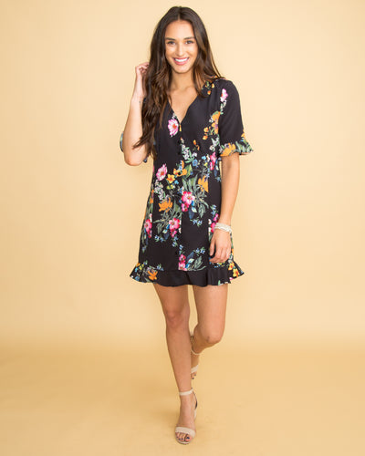 Garden Bliss Floral Dress - Black