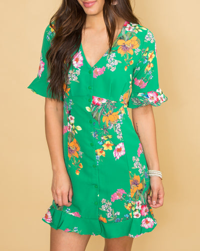 Garden Bliss Floral Dress - Kelly Green