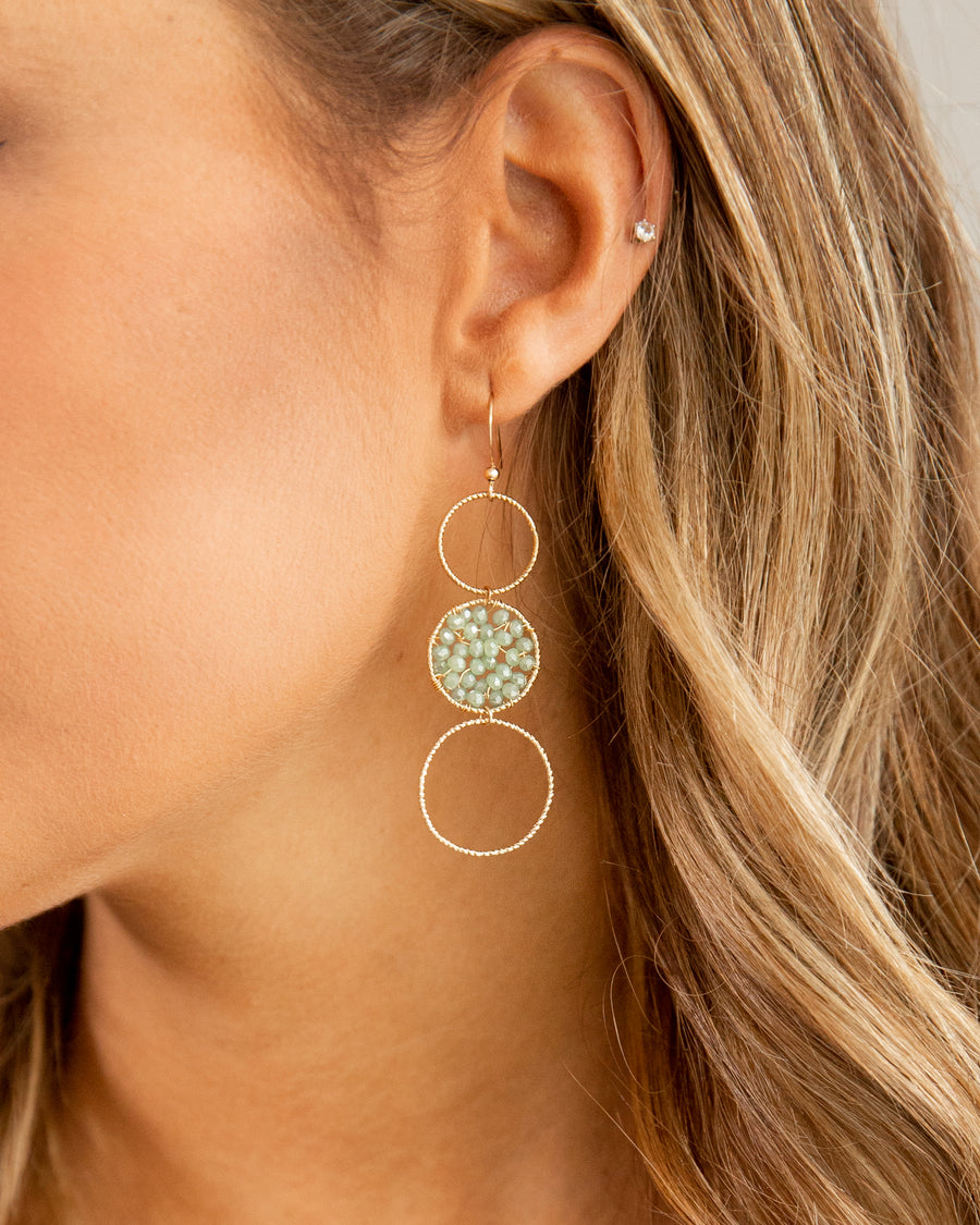 Gemma 3 Tiered Beaded Earring - Mint