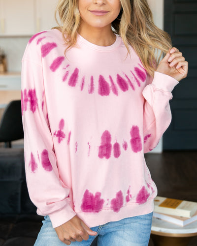 Getting Good Vibes Pullover- Light Pink