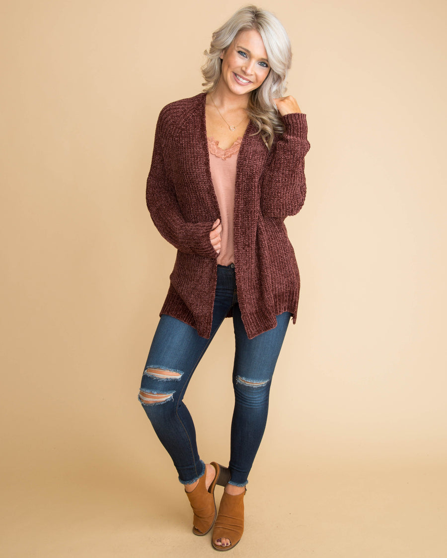 Getting Back To You Chenille Cardigan - Crushed Burgundy