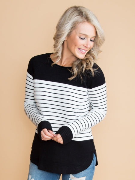 Getting Closer To You Stripe Color-Block Top - Black