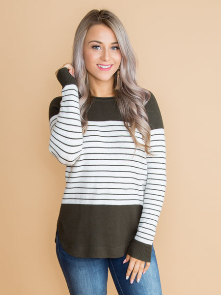 Getting Closer To You Stripe Color-Block Top - Olive