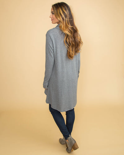 Getting Cozy Oversized Waterfall Cardigan - Grey