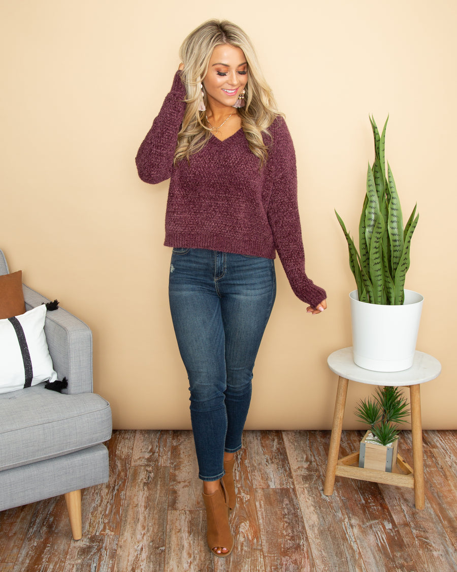 Gives Me Joy Sweater - Plum