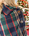 Giving Thanks Plaid Button Cape - Forest Green