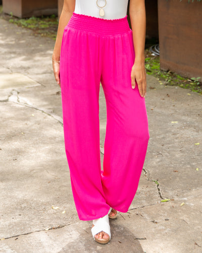 Go With The Flow Pants - Fuchsia