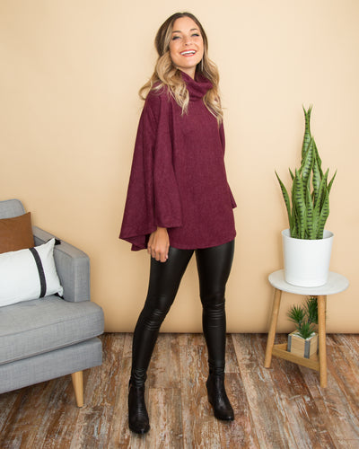 Go For Cozy Poncho - Burgundy
