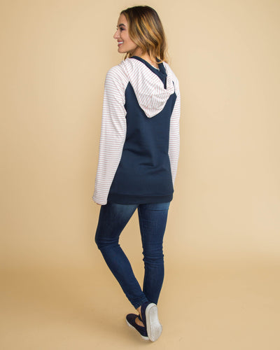 Go For It Side-Zip Stripe Double Hoodie - Navy/Pink