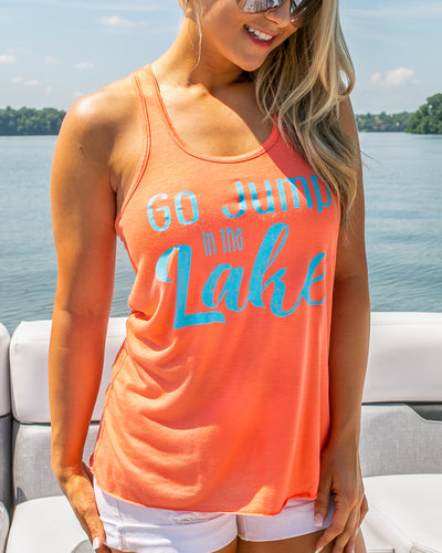 Go Jump In The Lake Graphic Tank - Tangerine