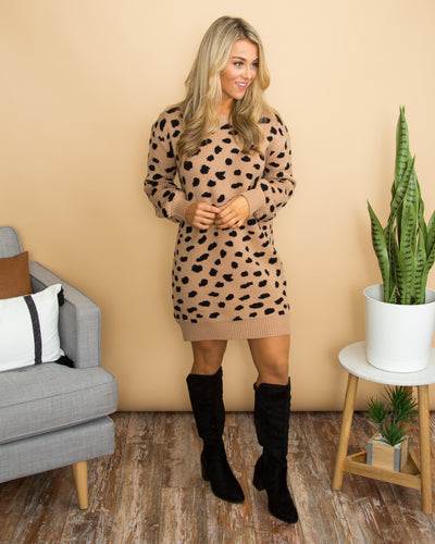 Go Out In Style Sweater Dress - Taupe