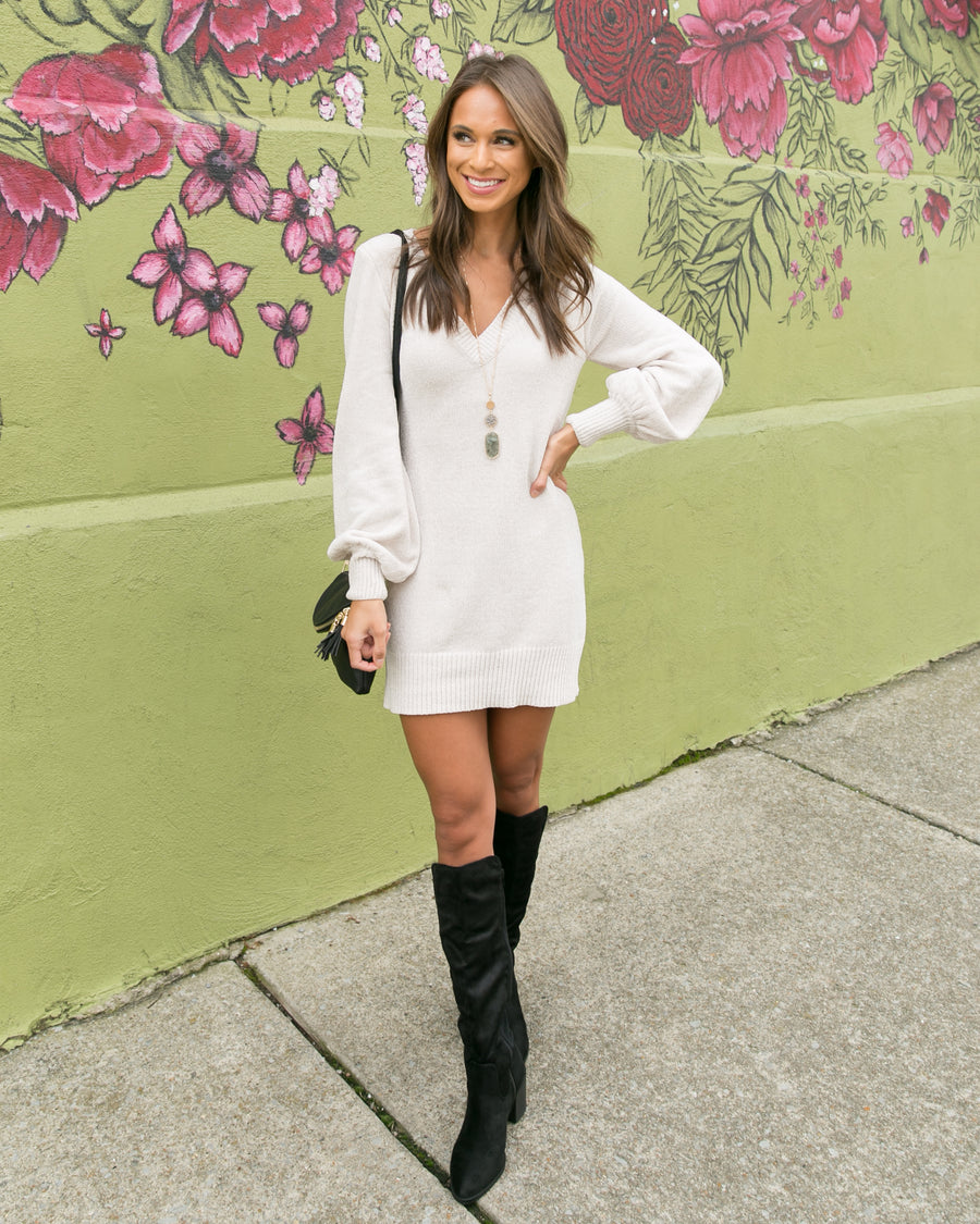 Going Uptown Sweater Dress - Cream