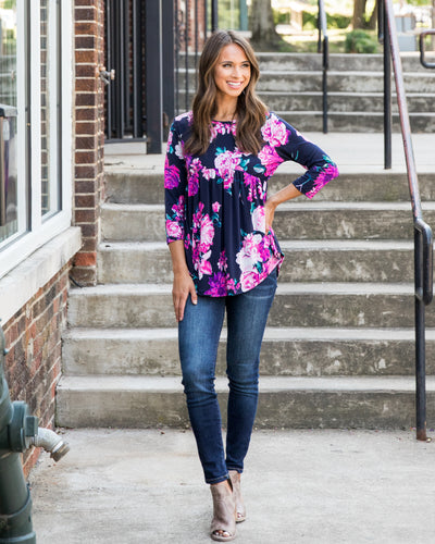 Graceful Ways Top - Navy