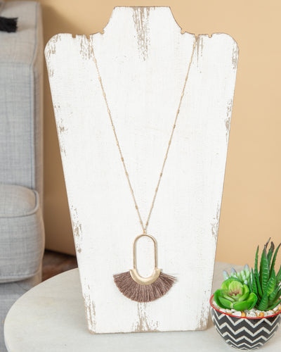 Grayson Long Tassel Necklace - Taupe