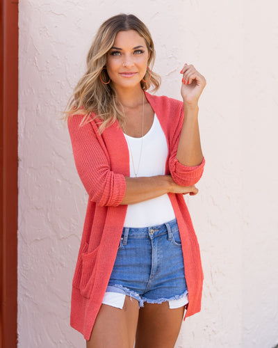 Happiest Of Hours Cardigan - Dark Coral