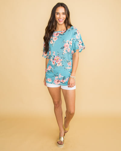 Happiest With You Floral Waffle Knit Top - Aqua
