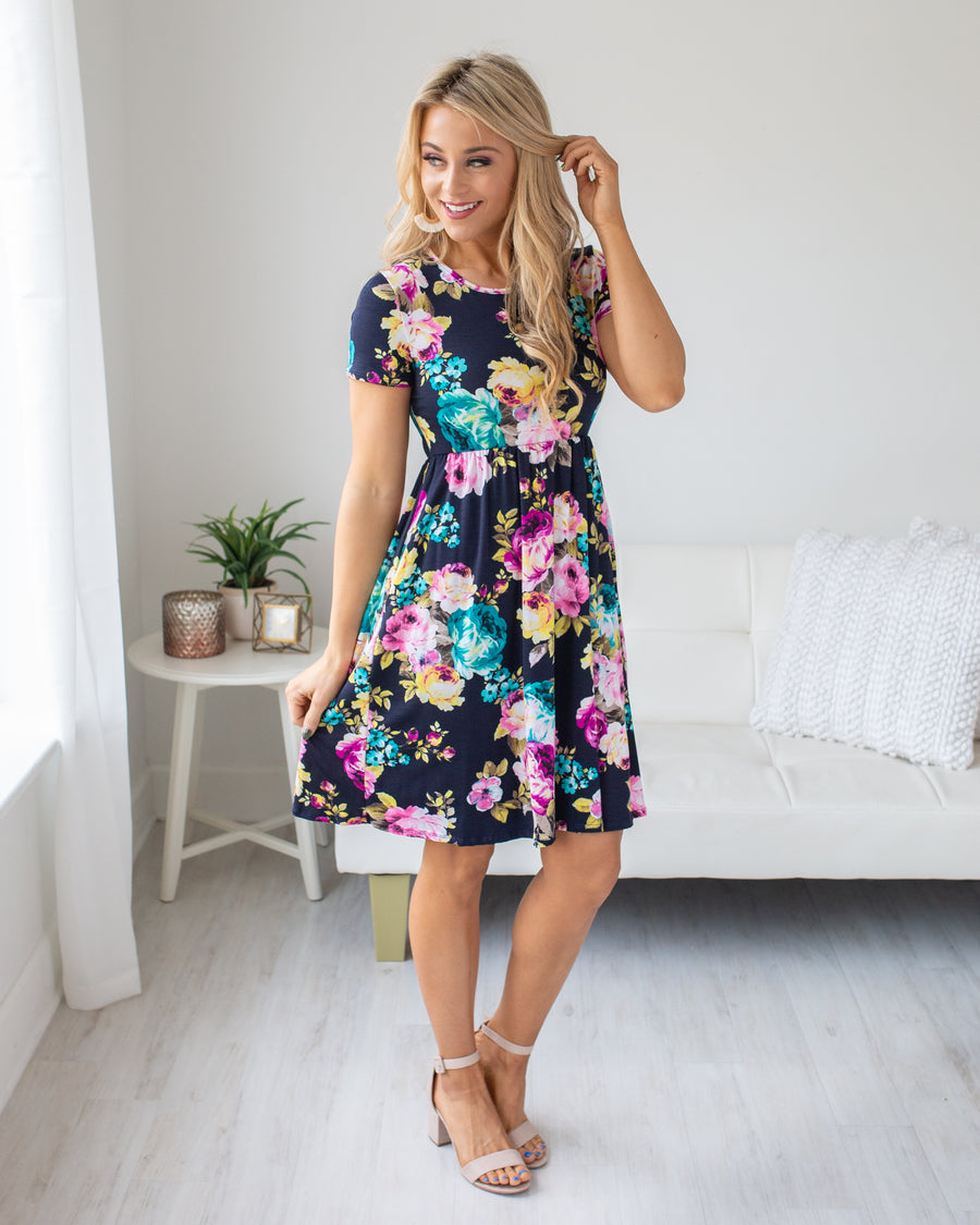 Happiness Blooms Floral Dress - Navy