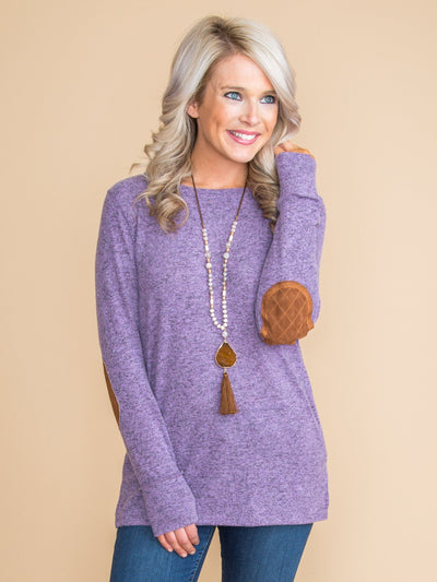 Harvest Elbow Patch Top - Dusty Purple