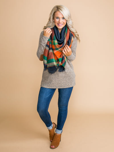 The Perfect Blanket Scarf - Navy/Orange