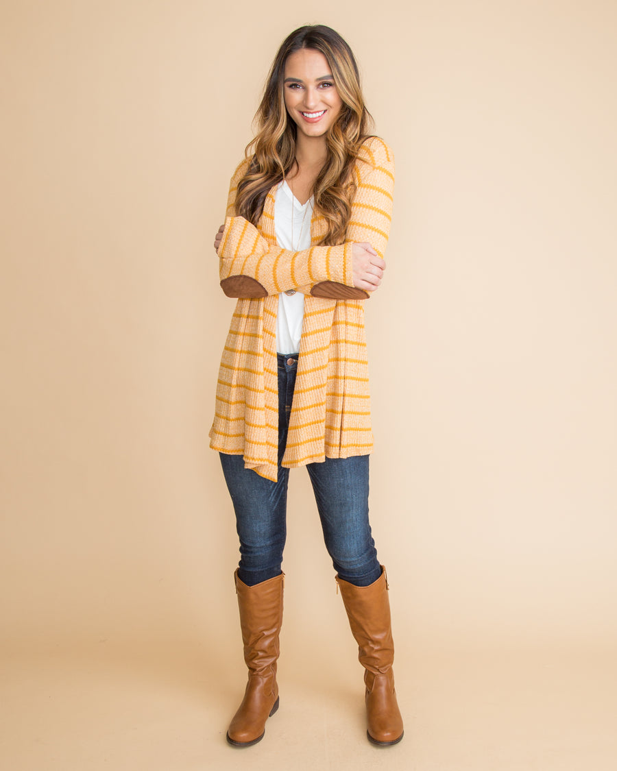 Harvest Wishes Elbow Patch Cardigan - Mustard