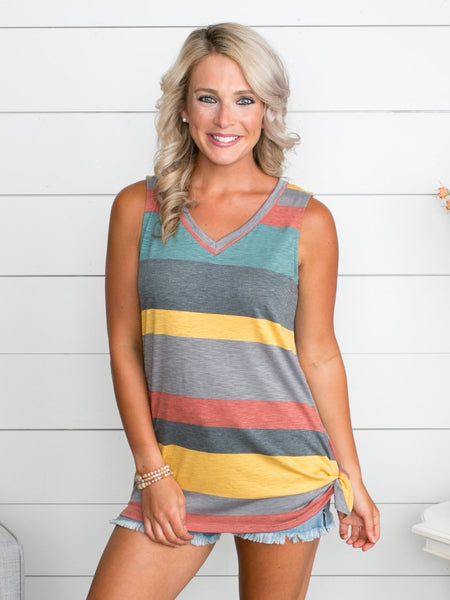 Have Some Fun Stripe Knot Top - Yellow