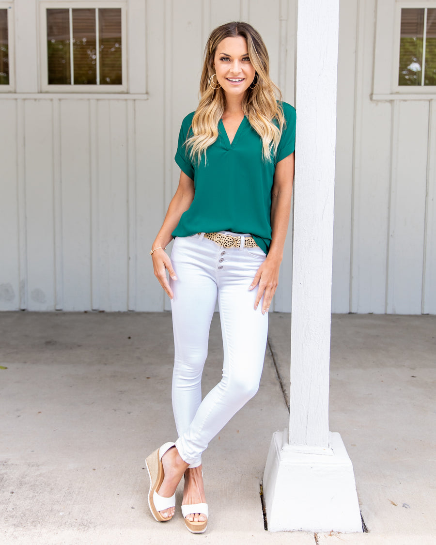Haven V-Neck Blouse - Hunter Green