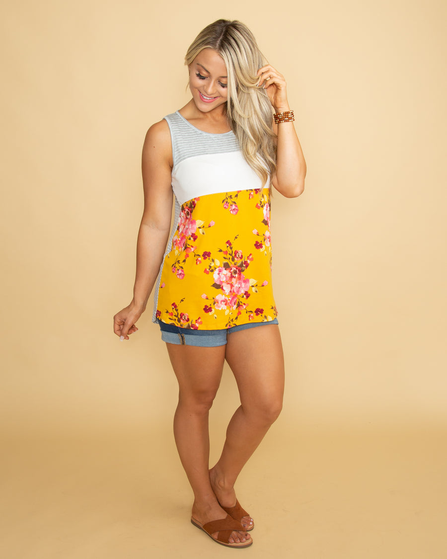 Having The Best Time Floral Color-Block Tank - Multi