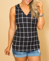 Heart Of Glass Plaid V-Neck Top - Black