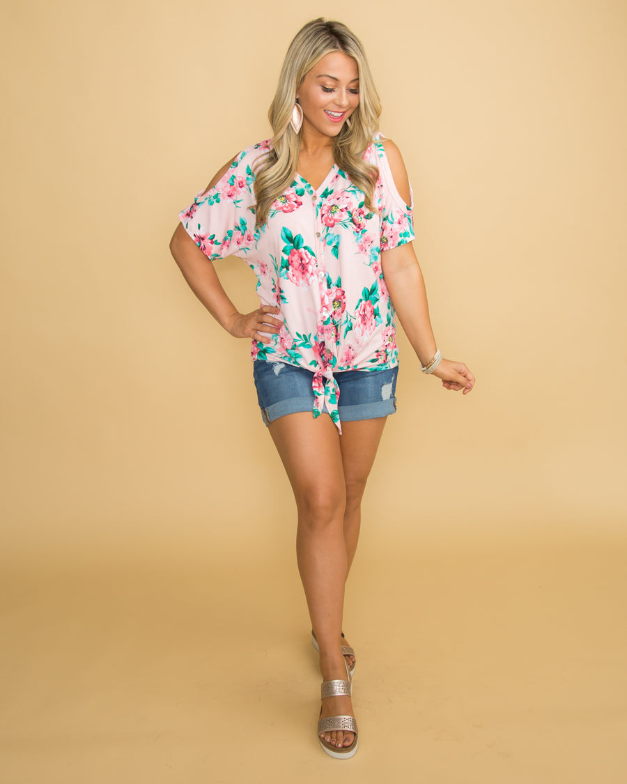 Heart Of Perfection Floral Open Shoulder Knot Top - Pink