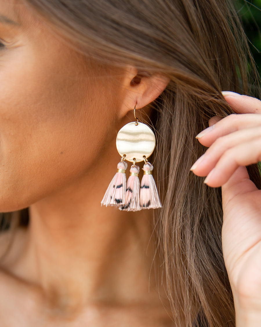 Heidi Tassel Statement Earrings - Mauve