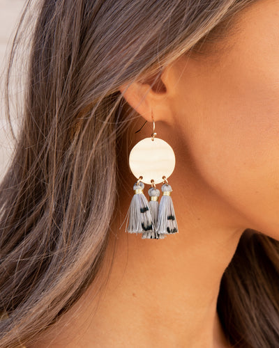 Heidi Tassel Statement Earrings - Grey