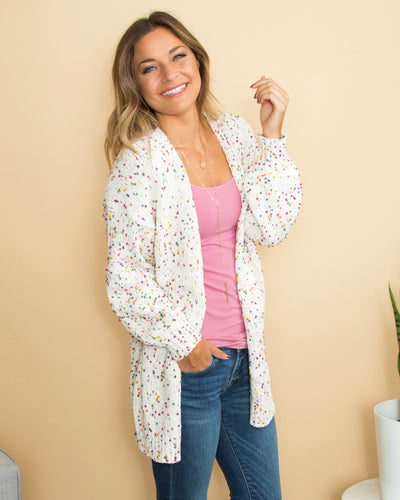 Here For A Good Time Confetti Cardigan - Cream