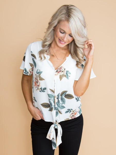 Here For Now Floral Knot Top - Off White