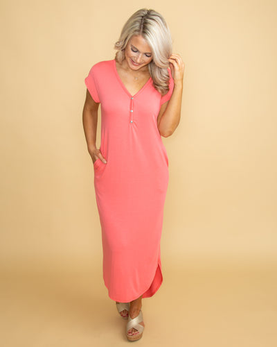 Here Forever High Low Maxi - Coral