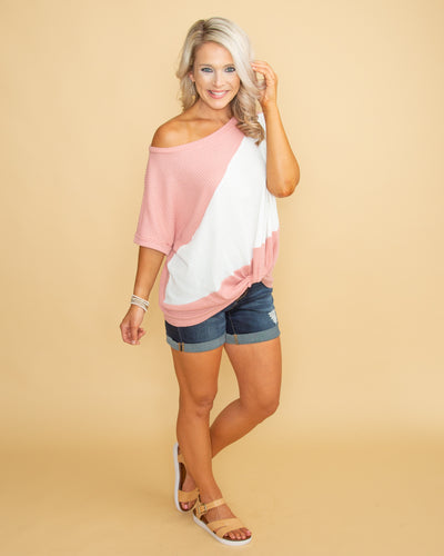 Holding Close To You Color-Block Waffle Knit Knot Top - Blush