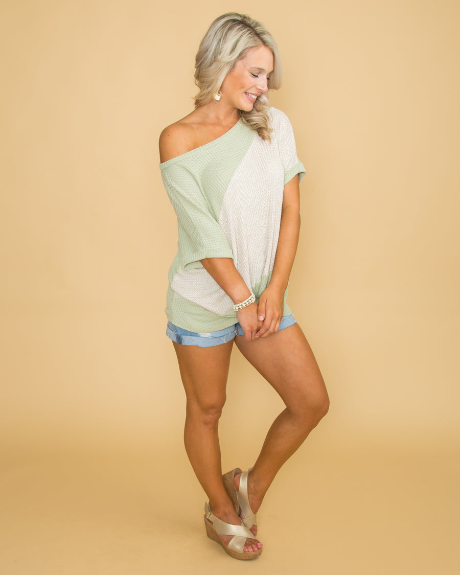 Holding Close To You Color-Block Waffle Knit Knot Top - Sage