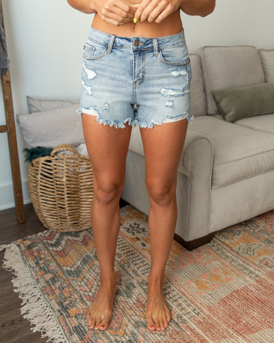 Holly Distressed Shorts - Medium Wash