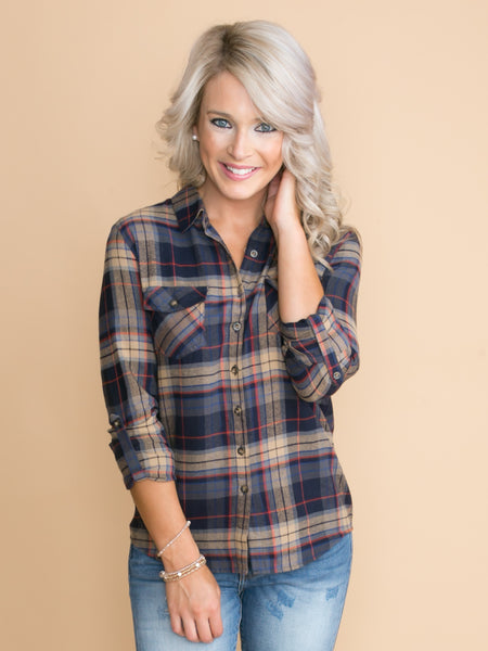 Home Team Plaid Button Down - Navy