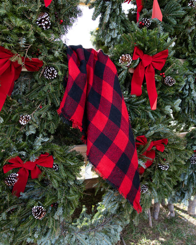 Hometown Holiday Plaid Blanket Scarf - Red/Black