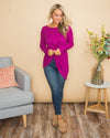 Honest Love Waffle Knit Twist Front Top - Magenta