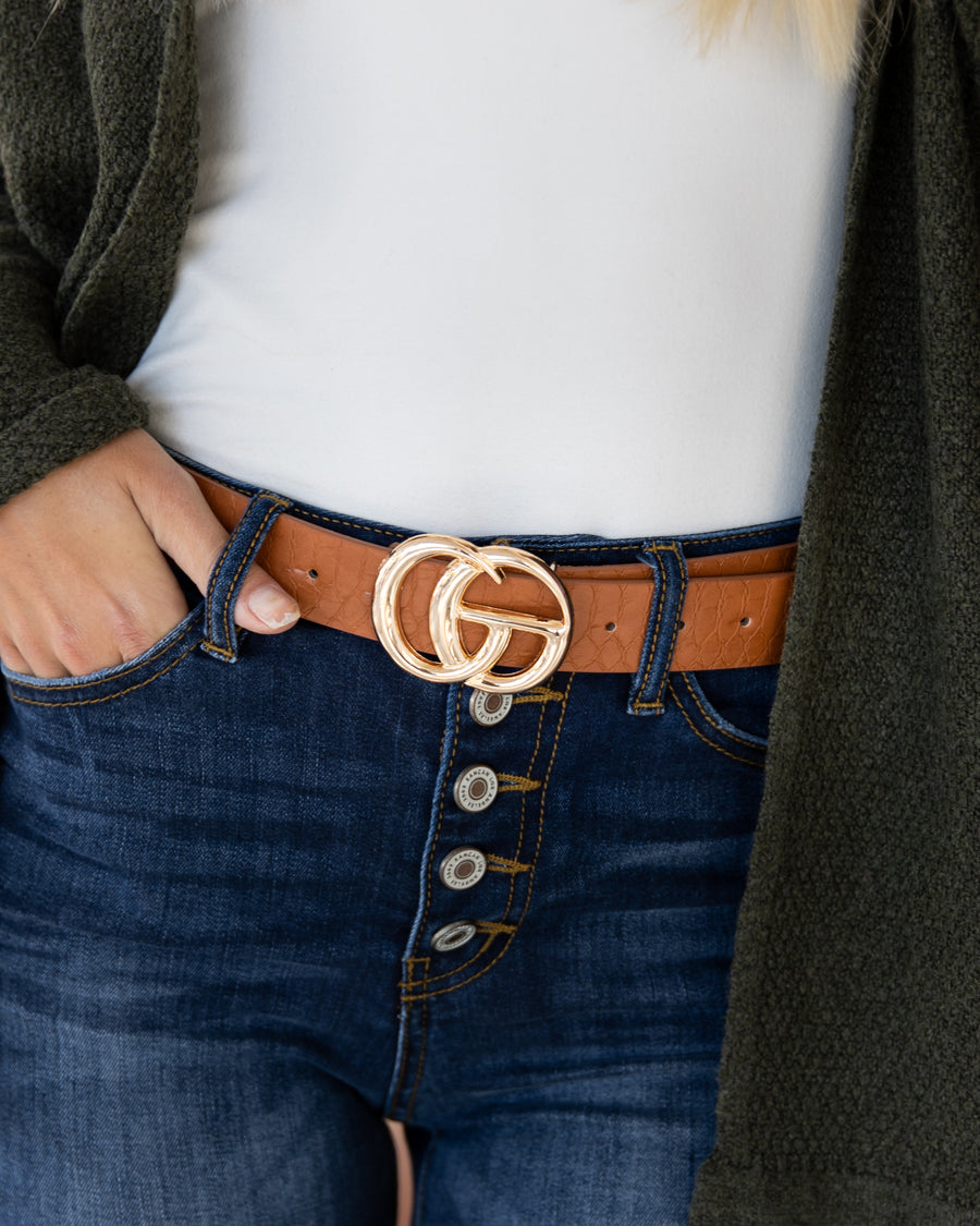 Hope Crocodile Belt - Cognac