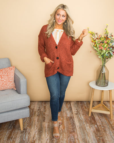 Hope For Next Time Button Knit Cardigan - Rust