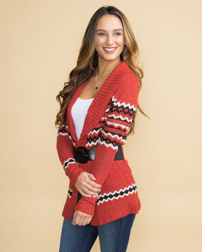 Hot Cocoa And Chill Printed Cardigan - Rust