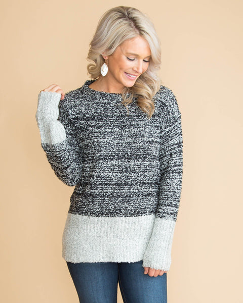 How It Happens Color-Block Sweater - Charcoal